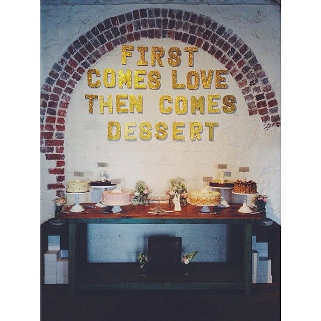 """@butcherbakerstylist's photo: """"Snap of Bonnie + Luke's DELISH Cake Station just before the main cutting cake came out! 6 insanely amazing cakes from @sherbetbakeshop along with our rad sparkling gold glitter letters and that amaze heritage exposed brick arch at #mooreandmoorecafe makes for perfection  #butcherbakerstylist #weddingstylist #perthweddings #cakeaddict #cakebuffet #firstcomeslovethencomesdessert"""""""
