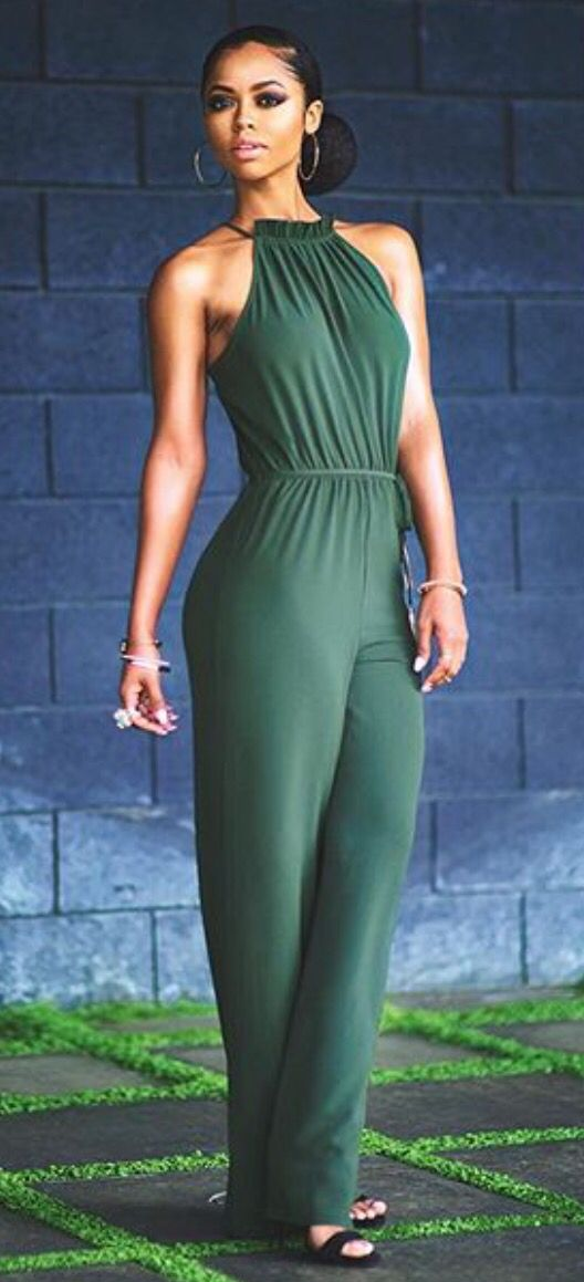 emerald green envy of many with this stylish hairstyle and sexy pantsuit casual clothes w. Black Bedroom Furniture Sets. Home Design Ideas