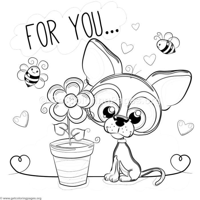 Free Download For You Cute Dog And Flower Coloring Pages Coloring