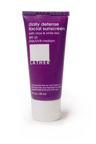 Lather Daily Defense Facial Sunscreen SPF 25, 2 Ounce by LATHER. $9.95. Emollient oils of coconut, sunflower, sweet almond and rose hip keep skin hydrated and nourished. Antioxidant white tea extract helps to rejuvenate the skin and further protect from free radical damage caused by the sun. New, improved paraben-free formulation. Gentle enough for all skin types. Specially designed for use on the face. With SPF 25, this non-greasy sun protection creme is specifically designed ...