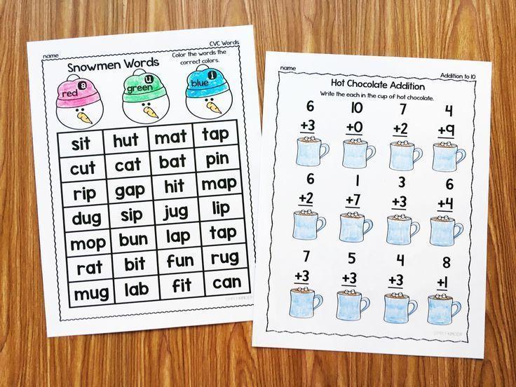 No prep winter printables for kindergarten