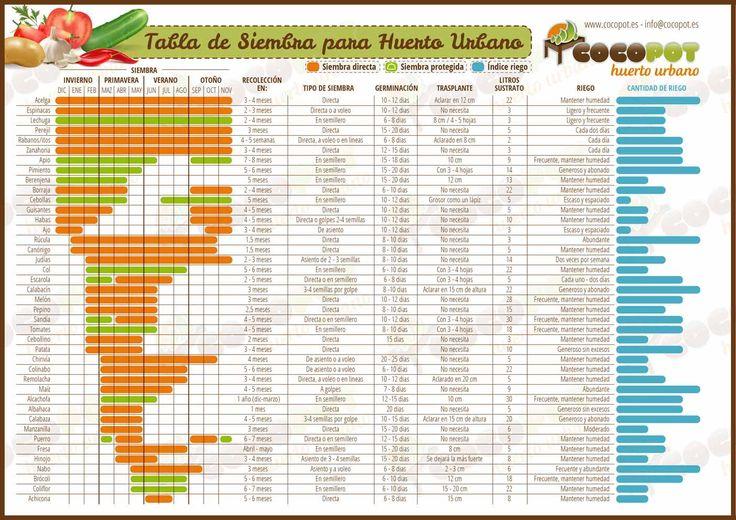 Tabla de siembra para huerto urbano. Calendario de la agricultura ecológica. #huertoecologico #huertourbano #salud #calendario