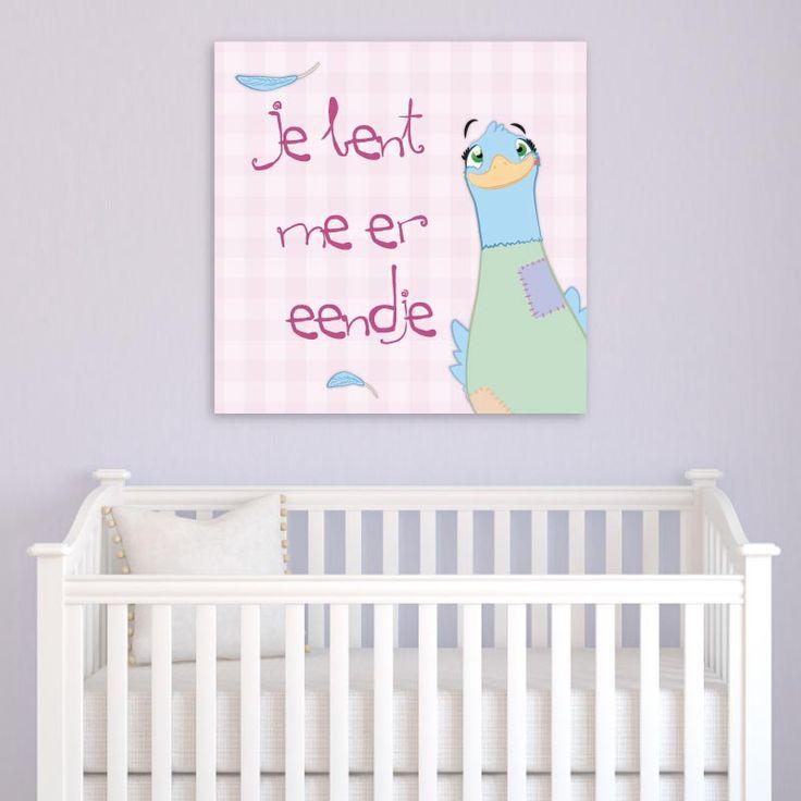 Een vrolijke muurdecoratie voor babykamer en kinderkamer. Verkrijgbaar op canvas in verschillende afmetingen. Ook in blauw te bestellen.