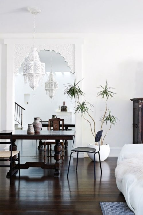 mainly white..with dark stained furniture..and the very lovely Dracena Marginata plant