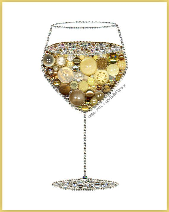Button Art Wine Glass | Wine Decorations | Kitchen Decoration | Mothers Day Gift | White Wine Art | Kitchen Wall Hanging | Kitchen Still Life | Rhinestone Wine Glasses This listing is for a giclée PRINT of button art piece. Your print will NOT have actual buttons on it. Its very crisp