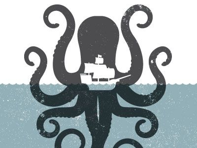 octopus pirate ship nautical illustration