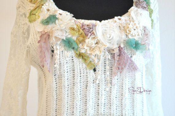 Bohemian ivory crochet blouse shabby chic blouse by GyaDesign