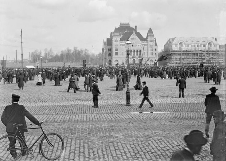 Street Scenes of Helsinki, Finland, ca. 1900s, Central railway station square and the Finnish National Theater in Helsinki