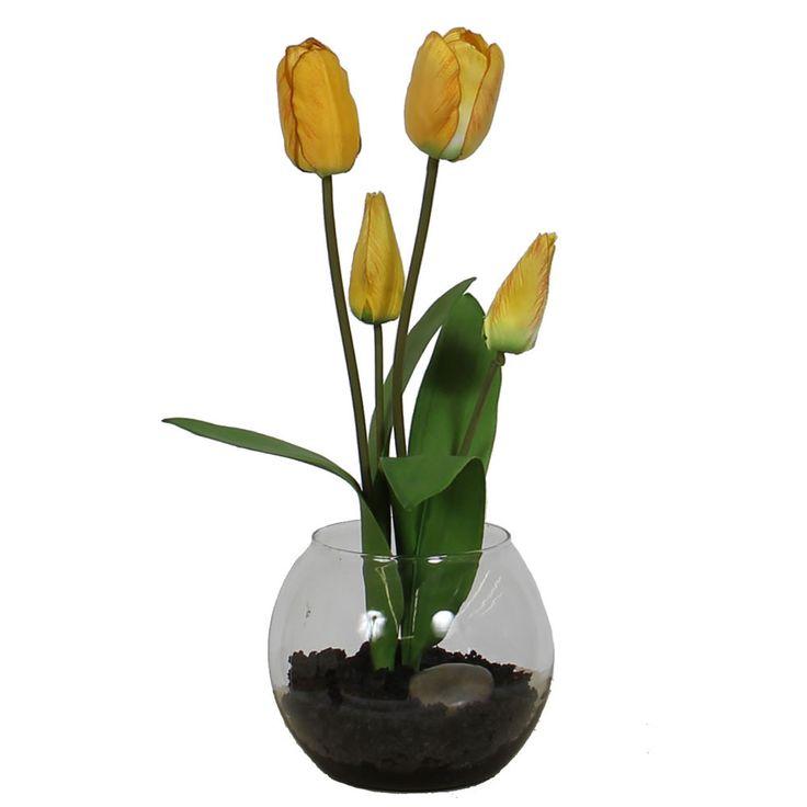 Yellow Tulip in Rose Bowl w/Faux Dirt