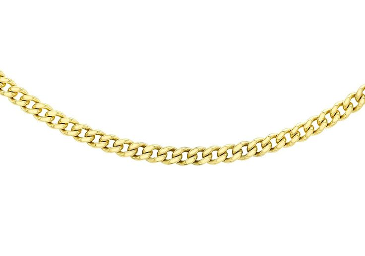 Carissima Gold 9 ct Yellow Gold Diamond Cut Curb Chain of 46 cm/18 inch