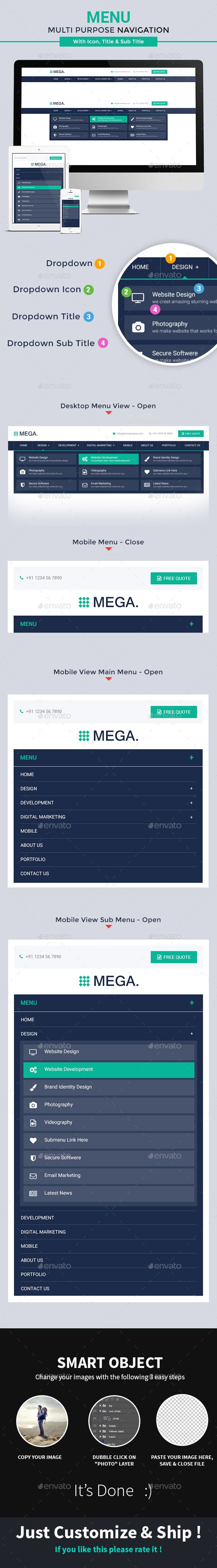 Multipurpose-Navigation-Tab is a creative mega menu. This mega menu can be use for Design Agency, Corporate Website, ecommerce and
