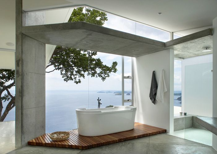 Casa Ron Ron in Tropical Costa Rica Designed by Victor Cañas Studio: Bathroom Design, Costa Rica, The View, Dreams House, Dreams Bathroom, Glasses Wall, Costa Rica, Ocean View, Bath Time