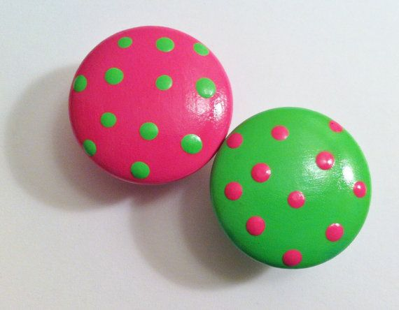 Lime Green and Bright Pink Drawer Knobs with by TheLittleNursery, $4.50