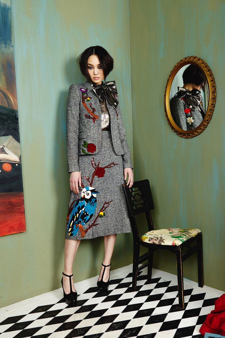 Attention! Attention! This is an Alice and Olivia PSA! Bye Bye boring suits replace them with embroidered owls on tweed! Always add a bow blouse to all of your favorite fall 2016 looks. Notice the t-strap patent platform pumps! #aofall16 #powersuit #aliceandolivia