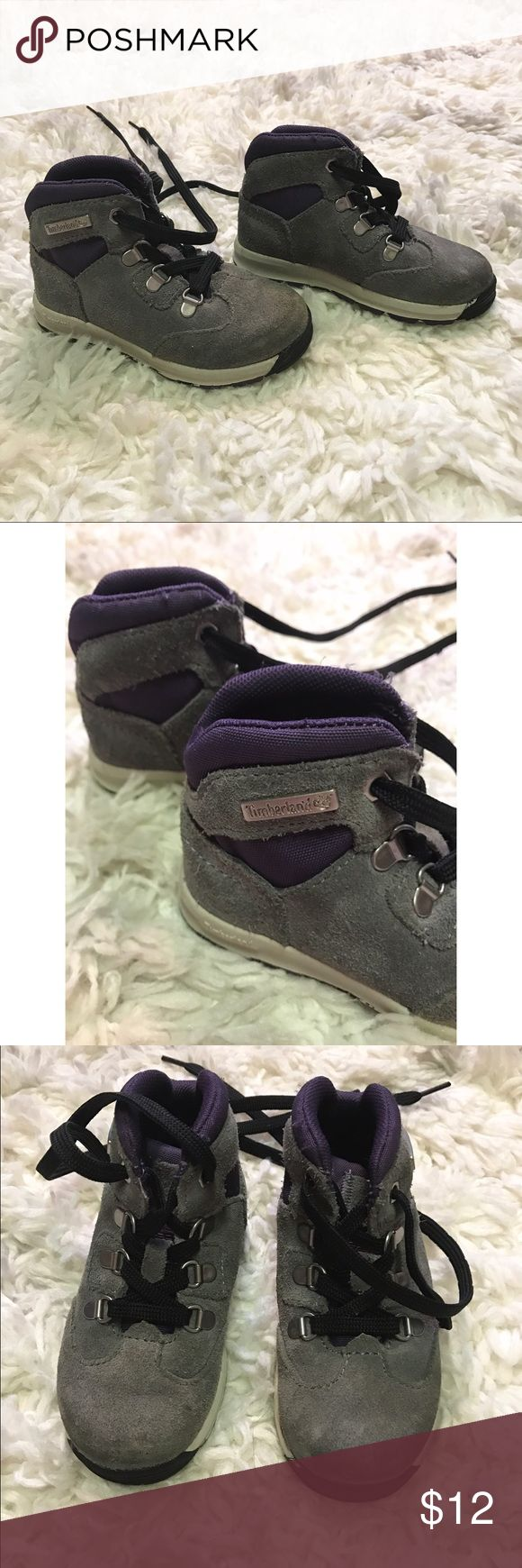 Toddler Timberland Boots Timberland Boots size 6! In excellent Condition! Gray and purple. Timberland Shoes Boots