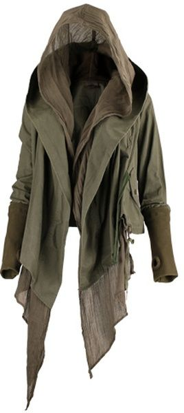 Cute jacket with thumb holes and scarf-y wisps!