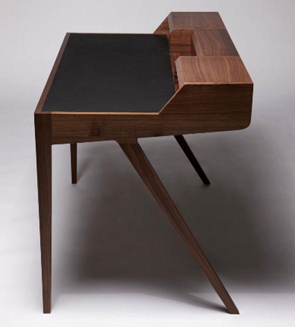 wood writing desk furniture design katakana dare studio side view - Wood Desk Designs