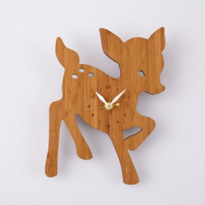Charming bamboo animal clocks make the perfect finishing touch for any habitat.  Eco-friendly with sweet, simple details.