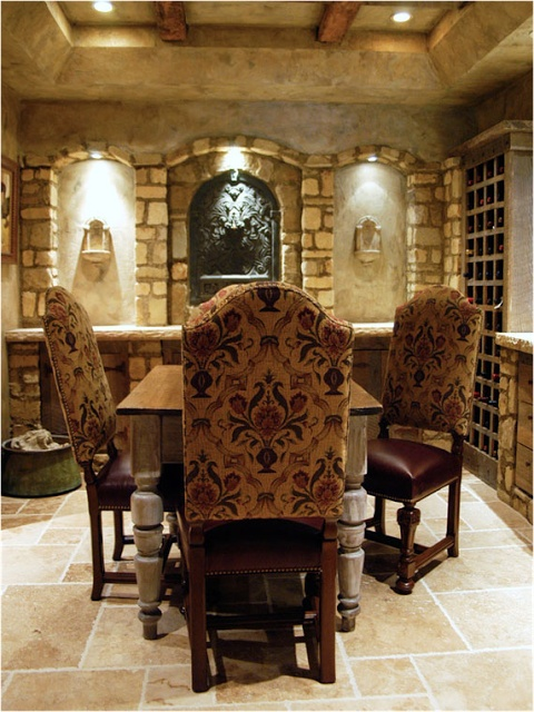 Dining Room , Inviting Tuscan Style Dining Room : Tuscan Style Dining Room  With Decorative Walls With Built In Wine Storage And Floral Chairs And  Rustic ...