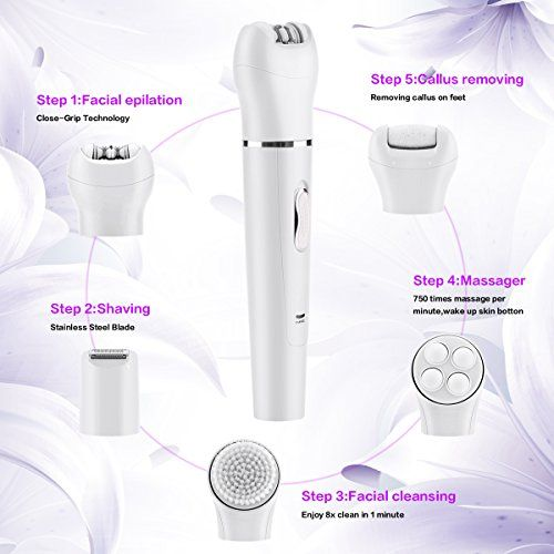 Happon 5 in 1 Electric Hair Removal Epilator, Lady Shaver and Foot Callus Remover, Face Cleaning Brush, Facial Skin Care Massager, Rechargable and Cordless, Wet/Dry Safe, Best Gift