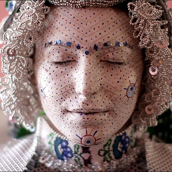 Bridal makeup and hair in every part of the world is pretty stunning, but for sheer creativity when it comes to makeup and use of color, Kosovar brides from the town of Donje Ljubinje take the cake. Their elaborate maquillage, which includes white face paint, sequins, and tons of gorgeous patterns