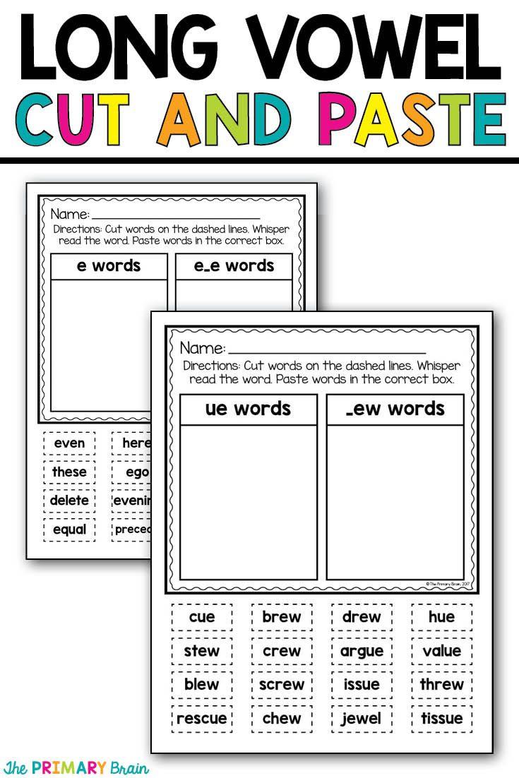 worksheet Vowel Digraphs Worksheets 25 beste over long vowel worksheets op pinterest lange cut and paste word sort