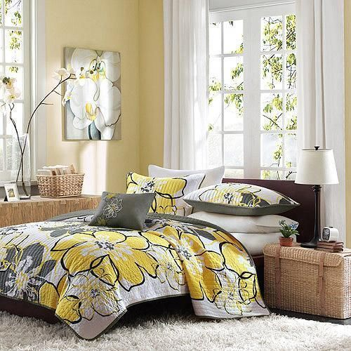 FULL QUEEN Black White Grey Yellow MODERN FLORAL 4pc Quilt