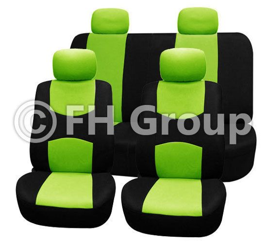 Green Black Flat Cloth Auto Seat Covers Full Set For Jeep Wrangler