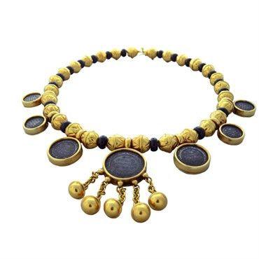 Marina B Bedouin 18k Gold Coin Onyx Necklace