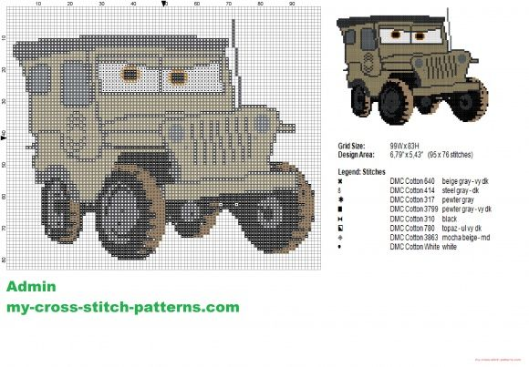 Sarge a character from Disney Cars cross stitch pattern (click to view)
