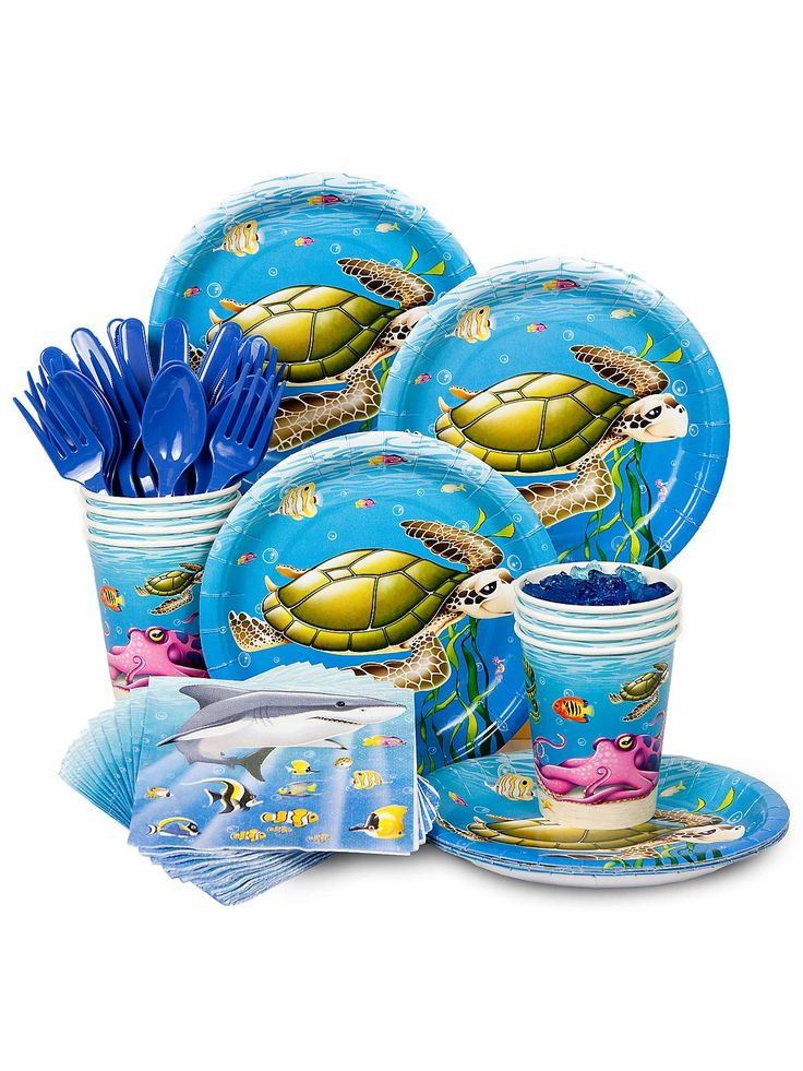 Ocean Birthday Party Standard Tableware Kit Serves 8  sc 1 st  Pinterest & 269 best Ocean Party Ideas images on Pinterest | Birthdays Parties ...