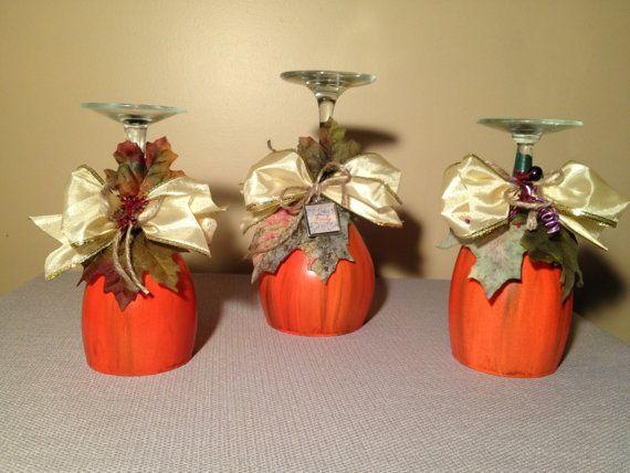 Pumpkin candle holder halloween thanksgiving fall harvest for Wine glass lamp centerpiece