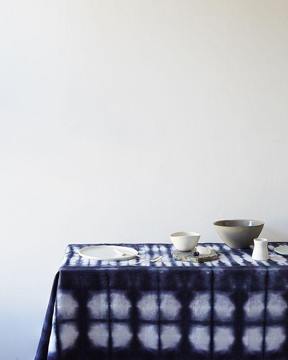 Rebecca Atwood Table Linens | Custom Shibori Tablecloth In Navy