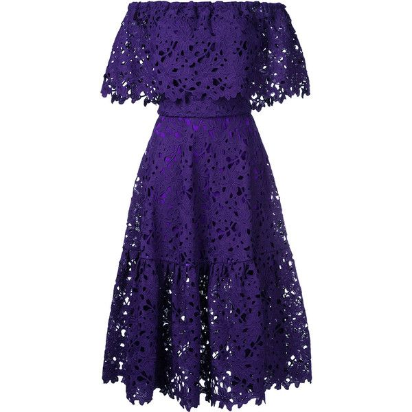 Bambah lace-embroidered flared dress ($562) ❤ liked on Polyvore featuring dresses, purple, flared dresses, flared hem dress, broderie dress, lace dress and flare dress