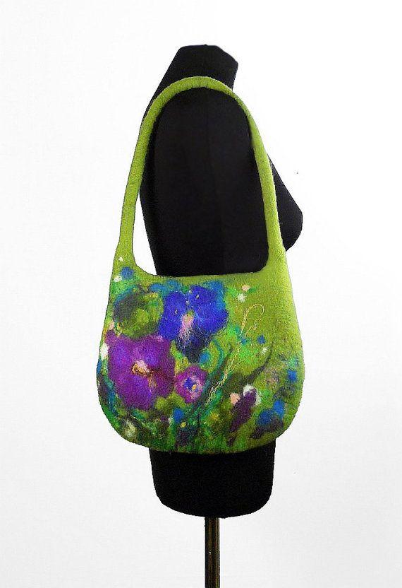 Felted Bag Handbag Purse wild Felt Nunofelt Nuno felt Silk green multicolor fairy fantasy shoulder bag Fiber Art boho