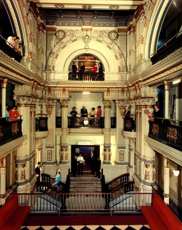 Interior of the Federal Hotel (originally Coffee Palace) in Melbourne, cnr of King and Collins St, demolished in the 1970s.  Photo via walkingmelbourne.com.au