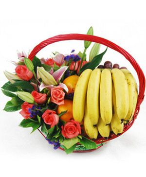 Flower & fruit basket, lilies and roses with fruit - send fruit to china