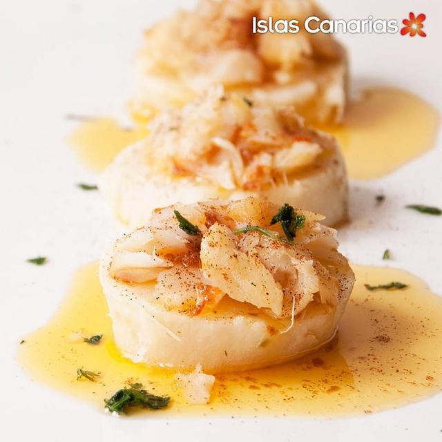Montaditos de #batata y #bacalao con mojo rojo #Canarias