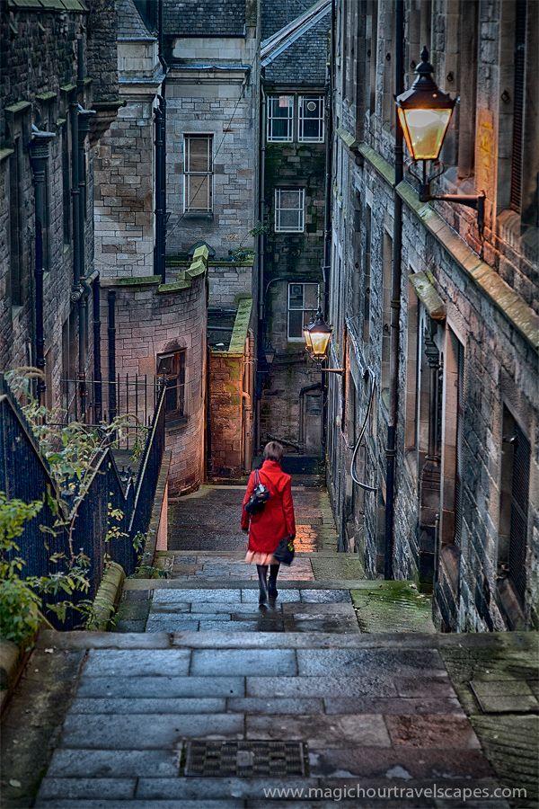 Medieval stairway in the old city of Edinburgh, Scotland