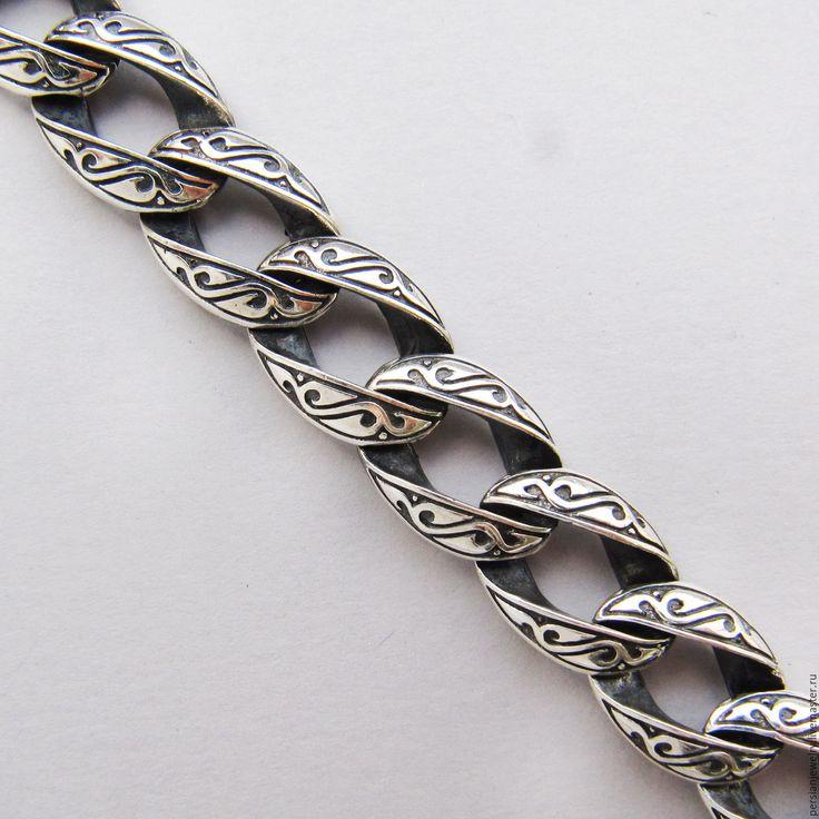 Купить Браслет с кельтским рисунком - серый, Браслет ручной работы, браслет на руку, браслет мужской