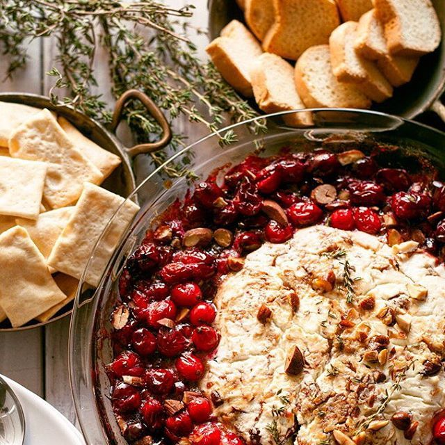 Baked Goat Cheese Roasted Cranberry Appetizer // Honey And Birch. Find this recipe and more on our Tree Trimming Party Feed at https://feedfeed.info/tree-trimming-party?img=1262445 #feedfeed