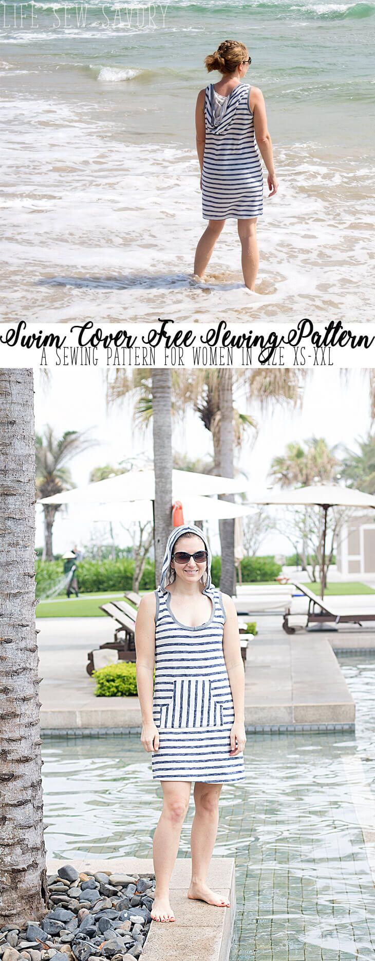 Free Sewing Pattern - Womens Swim Cover Up from Life Sew Savory