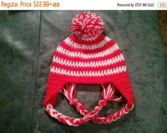 SALE Baby Candy Cane Pompom Earflap Hat Red White - Newborn Boy Girl Costume  Costume Photo Prop Christmas Gift Winter Outfit