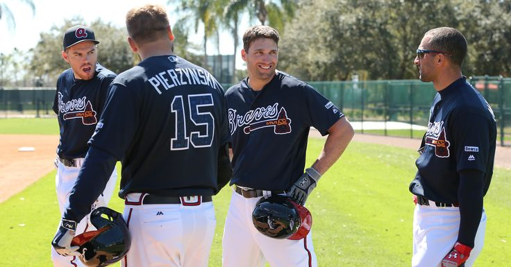022616 LAKE BUENA VISTA: Braves Freddie Freeman (from left), A.J. Pierzynski, Jeff Franceour, and Nick Markakis confer during batting practice at spring training on Friday, Feb 26, 2016, at the ESPN Wide World of Sports, Lake Buena Vista, FL. Curtis Compton / ccompton@ajc.com