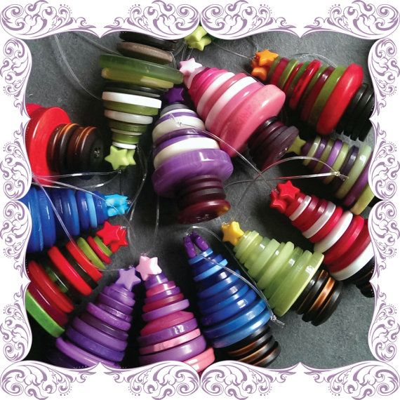 Hanging Button Christmas Tree Decoration Button by KezFromTheAttic