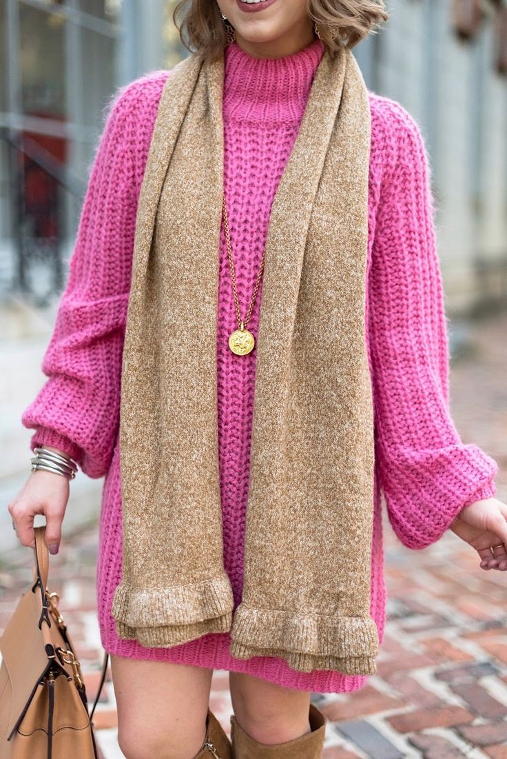 Pink Sweater Dress + Brown Accessories for Fall - Something Delightful Blog