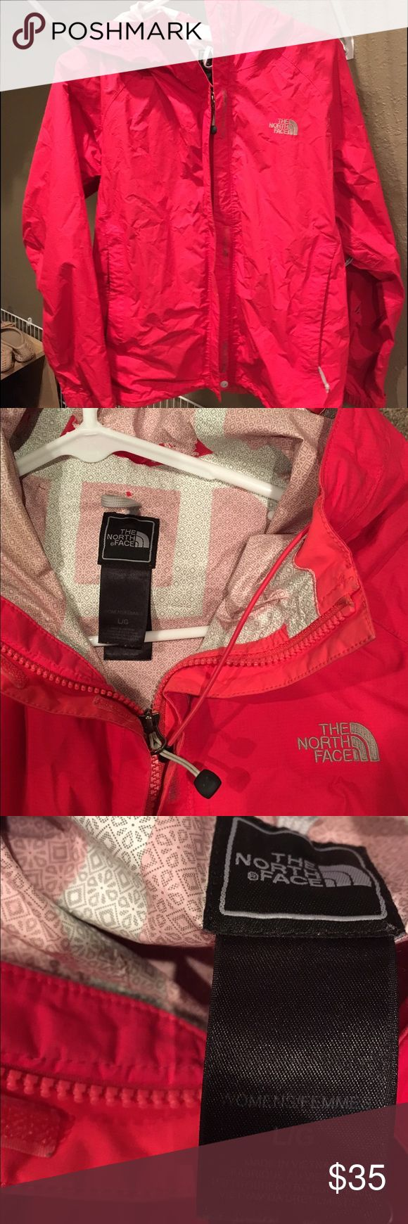 Pink North Face Rain Jacket - Hyvent DT - Large Hyvent DT North Face Rain Jacket. Pink/Coral. Women's Large. Used and has a couple of marks on it but still in great condition! Has underarm zips, pocket zips, adjustable waist, and Velcro wrists. All zippers work properly. Great rain jacket! North Face Jackets & Coats