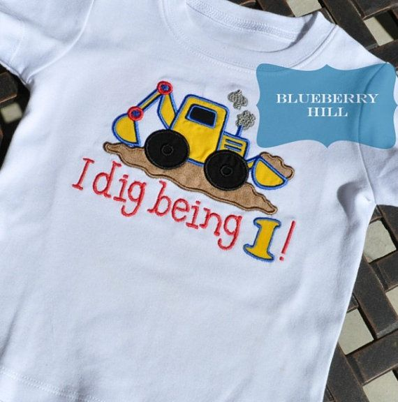 Construction Backhoe Birthday Shirt 1st 2nd by BlueberryHillBoutiq, $20.00
