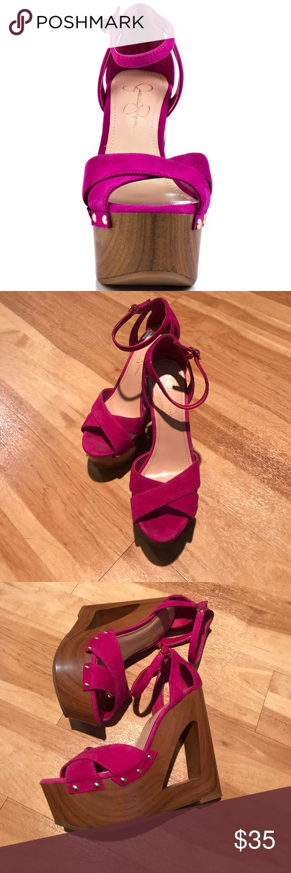 Jessica Simpson Hot Pink Wedges Size 7 Bright pink wedges by Jessica Simpson. Great with a pair of jeans or a fun summer dress! Size 7. No box. Jessica Simpson Shoes Wedges