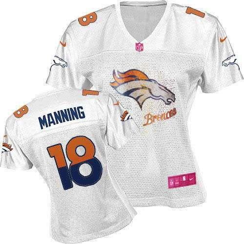 Women's Nike Denver Broncos #18 Peyton Manning Elite White 2012 Fem Fan Jersey